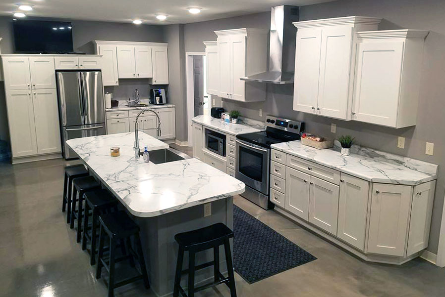 A Plumbing Company In Wapella, IL Worked With Randall Cabinets To Create  This Showroom Kitchen In Painted Maple. The Cabinets Are Haas Cabinets  Plymouth V. ...