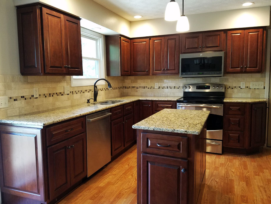 cherry color cabinets kitchens haas cherry kitchen with bourbon stain randall cabinets 13496